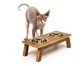 """Mid Century Modern Pet Feeder   Elevated SMALL Cat & Dog Bowl   MCM Walnut Pet Dish   16 oz Stainless Bowls   """"Double Diner"""""""