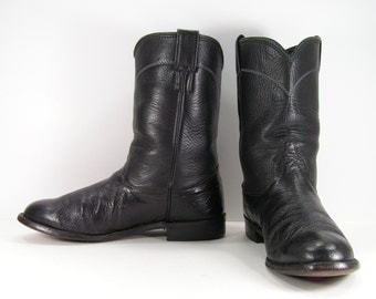 larry mahan cowboy boots womens 9 M black ropers smooth ostrich skin western leather cowgirl