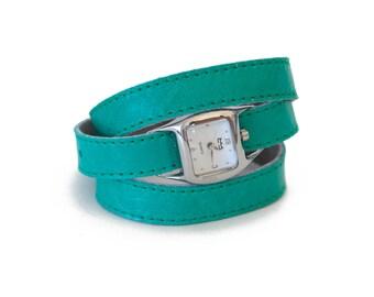 Ocean green triple wrap leather watch, aqua green watch  - the Twist