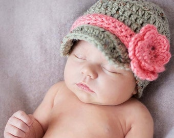 Baby Flower Hat, Baby Girl Hat, Coming Home Outfit, Newborn Girl, Photography Prop, Photo, Baby Layette, Winter Hat, Baby Gift SS-NBG200
