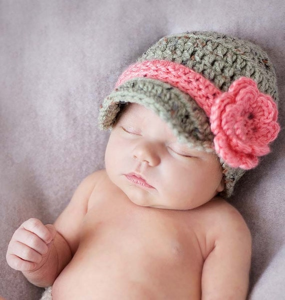 Baby Girl Hat, Baby Girl Hats, Baby Hat, Crochet Newborn, Newsboy Baby Girl Hat, Newborn Infant, Photo Prop, Baseball Cap, Baby Shower Gift