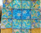 Lilly Pulitzer Gender neutral Baby rag quilt Pool Daze