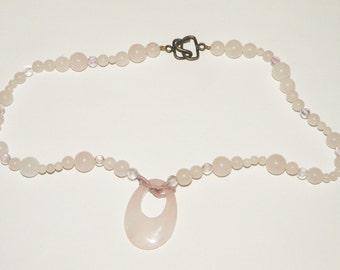 Pink Quartz Beaded Necklace
