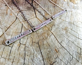 New-Loved Pewter Bar Necklace
