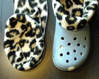 Socks / liners for croc, crocs or clogs -  leopard print