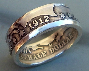 1912 Barber Half Dollar Coin Ring (90% Silver) (Available in sizes 8.5 through 12)