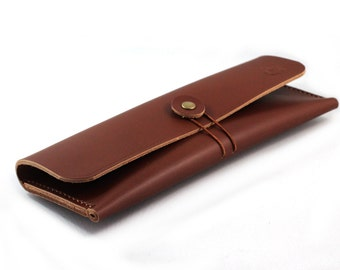 Hand-stitched leather pencil case/ multi-pouch in MILK CHOCOLATE