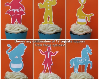 Circus Cupcake Toppers, Carnival Cupcake Toppers, Cupcake Picks - Set of 12 - MADE TO ORDER