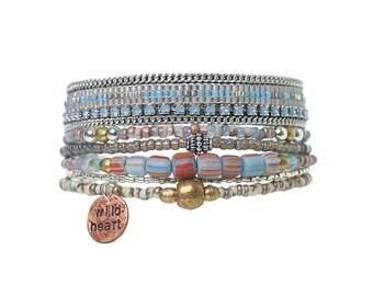 Bohemian bracelet set of two / handstamped charm bracelet / bead loom bracelet / bohemian jewelry / ethnic bracelet / miyuki bracelet