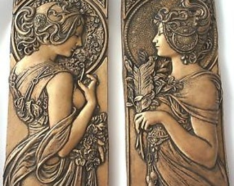 Alphonse Mucha style art nouveau plaques in silver, gold or bronze effect