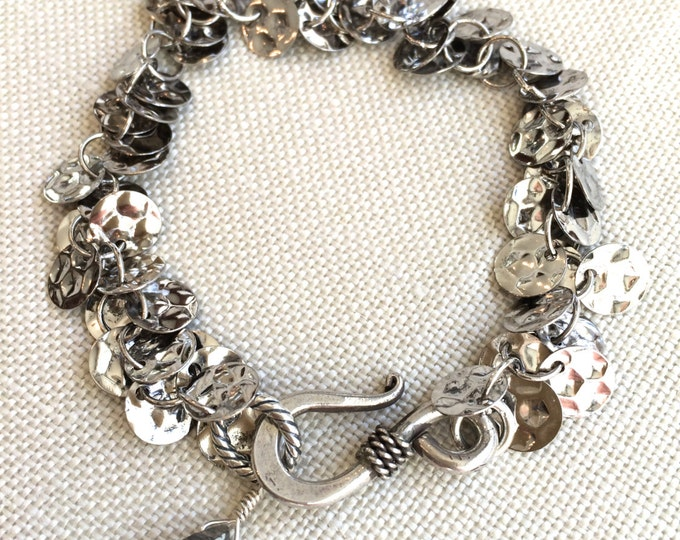 Silver Sequin Bracelet--No Tarnish Rhodium Metal