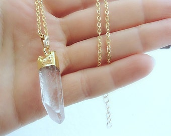 Clear Crystal Point Necklace, Raw Crystal Necklace, Gold-dipped Necklace, clear Quartz Point Pendant, Long Layering Necklace, Boho Jewelry