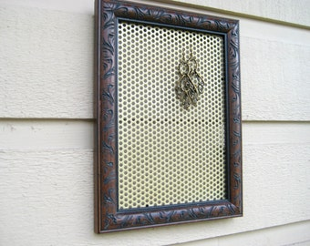 Earring Holder, embossed chocolate brown wood frame with a metal magnetic insert for jewelry or photos, cottage and country chic decor