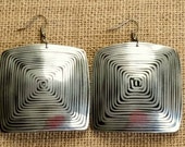 Circuitry Earrings Real Metal Wire Inlaid Coconut Statement Earrings-Square