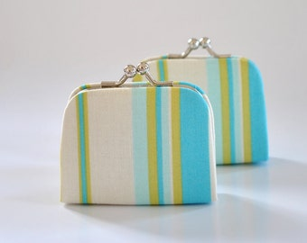 Happy Stripe in River - Tiny Kiss lock Coin Purse/Jewelry holder