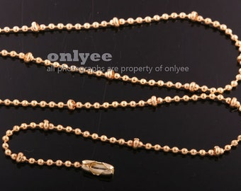 1Meter-Bright Gold plated Brass Ball Chain with 2.4mm Beads with 3pcs FREE Connectors (N139G)