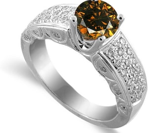 red cognac color diamond ring