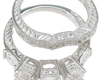 sterling silver set wedding rings