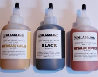 Glassline Fusing Glass Paints 'Metallic Gold, Metallic Copper and Black' Set