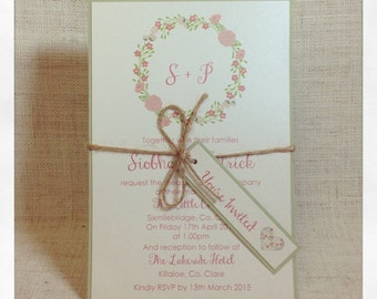 Floral Wreath Invitations - Boho Wedding Invitations
