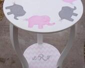 Tables Nursery Decor, Kids & Baby, Nursery Elephants, Pink gray,  Custom Round Night Stand, End Table, Elephant  Baby Bedding