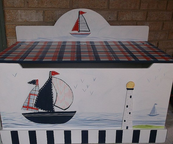 Boat Bed With Trundle And Toy Box Storage: Toy Chest Sailboat Nautical Bench Toy Box HOPE By Spoiltrottn