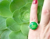 RING - Made to order in any size - 15 mm Round, Lime Green, Sea Sediment Jasper - Hand Wrapped in Sterling Silver Wire, Round Stone Ring