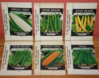 Set of 6 Different Vintage Vegetable Seed Boxes, Card Seed Co., Fredonia, NY, Never Used Stock!