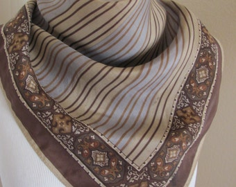Ladies Small Brown Ellen Tracy Silk Scarf -- 20 x 20 Square