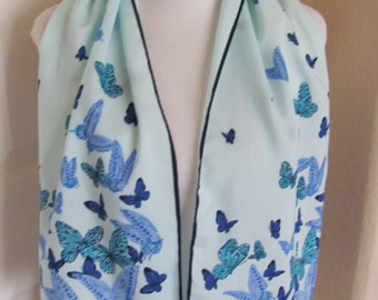 Beautiful Light Blue Nasharr Silky Poly Scarf - 10 x 44 Long