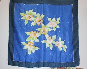 Hand Painted Large Vintage Silk Scarf Orchids