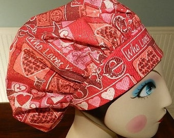 Love Words Valentine  Banded Bouffant Surgical Cap