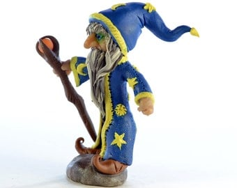 Mystical Wizard - Original OOAK Polymer Clay Figurine - Cake Topper, Shelf or Desk Ornament or a Great Gift - Free US Shipping