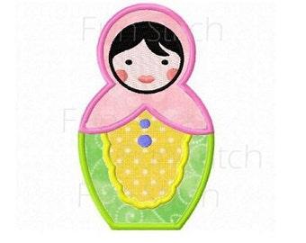 Russian doll applique machine embroidery design
