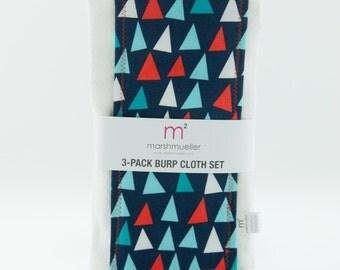 Nautical Triangles Burp Cloth Set