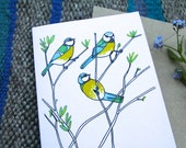 Blue Tit, Garden Birds Greeting Card.