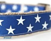 Star Dog Collar, Blue Dog Collar, USA Handmade Dog Collar, Adjustable Dog Collar, Texas Star Collar