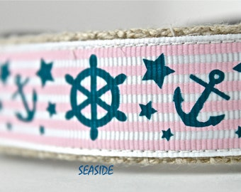 Anchor Dog Collar, Nautical Dog Collar, Adjustable Dog Collar, Pink Stripe Dog Collar, Sailing Dog Collar