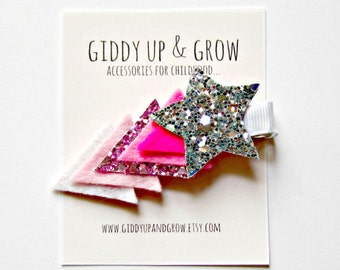 Felt Hair Clip - Glitter Hair Clip, Ombre Shooting Star, Giddy Up and Grow