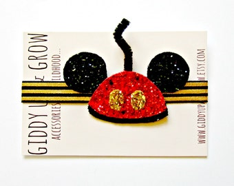 Mickey Mouse Ears Headband - Glitter Mickey Mouse Old Fashion Ears, Disney Inspired, Giddy Up and Grow