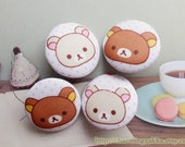 Fabric Covered Buttons (L) - Cute Rilakkuma's Bear, Choose One Color (4Pcs, 1.1 Inch)