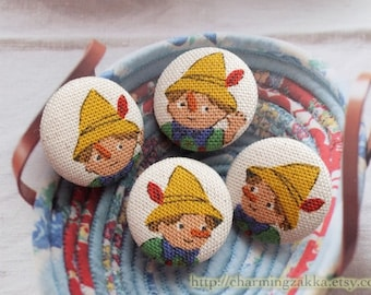 Fabric Covered Buttons (M) - Fairy Tale Storybook Cartoon Character Adventures of Pinocchio Toy Doll (4Pcs, 0.87 Inch)