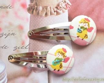 SUMMER SALE - Hair Accessories, Handmade Hair Snap Clips - Fabric Button Lovely Yellow Dressing Pink Hat Little Musician Girls(1 Pack, 2PCS)