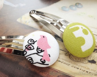 SUMMER SALE - Hair Accessories, Handmade Hair Snap Clips-Fabric Button Lovely Green Baby Elephants Pink Bird On The Tree(1 Pack, 2 in a set)