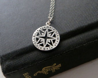 Compass necklace, sterling silver compass pendant necklace, compass charm jewelry, gift for graduation, nymetals