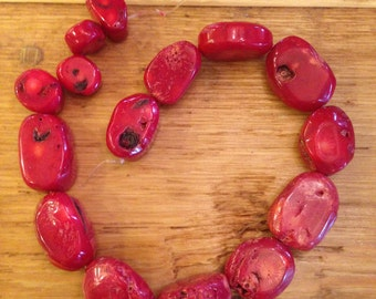 Graduated Red Coral Nugget Beads, Full Strand