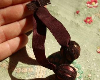 French Antique  silk chenille ribbon bobble dangle piece deep maroon brown shade genuine silk 1920s trim button