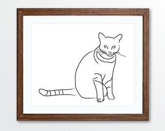 Cat Art Print - Minimalist Cat Art - Line Drawing Art Print - Minimalist Home Decor