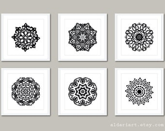 Mandala Art Prints - Mandala Wall Art - Modern Decor - 5x5 - Medallion Wall Art - Black and White Decor - Aldari Art