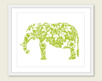 Elephant Art Print - Floral Elephant Wall Art - Modern Home Decor - Green Elephant Art - Nursery Decor - 8x10